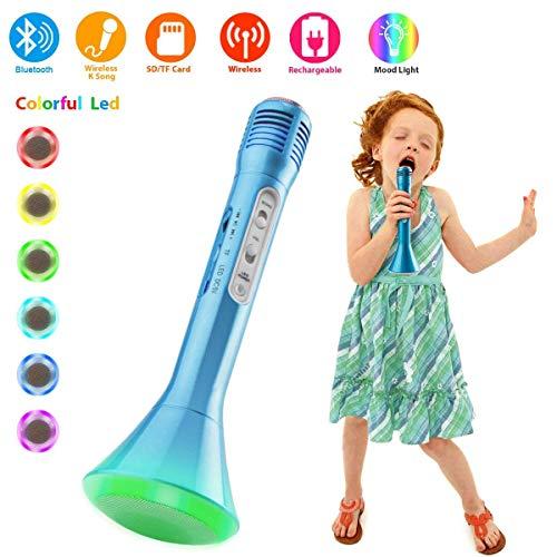 Kabelloses Bluetooth-Mikrofon Karaoke mit Lautsprecher und buntem LED-Licht, tragbare Microfon-Wiedergabegerät für Karaoke Kinder Home Single, Halterung Echo iPhone iPad Android Smartphones PC Laptop