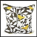 AdamLinens 100% Cotton Bird Design Cushion Covers 20x20 Pack of(4,Bird Charcoal)