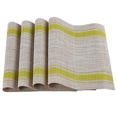 Kaka mall tovaglietta americana lavabili in pvc antiscivolo elegante per tavolo e cucina 30x45 cm set di 4(giallo)