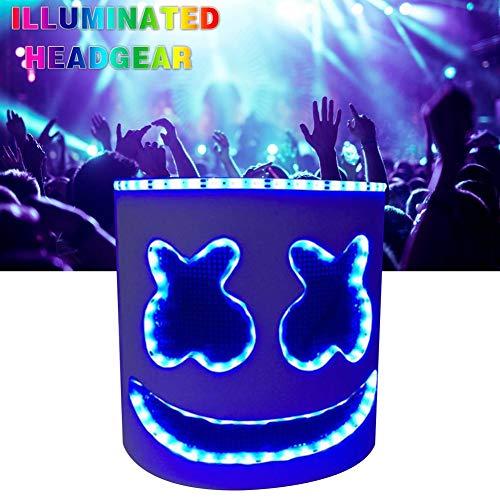 Halloween Party Nachtclub LED Flashing Headgear Music Festival Latex Weiß Maske Party für Cosplay Bühnenperformance Music Festival Requisiten