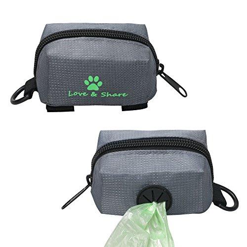 Ewolee Kotbeutelspender für Hunde, Hund Aufbewahrungstasche für Kotbeutel Leine Befestigung mit 15 Kotbeuteln(Grau)