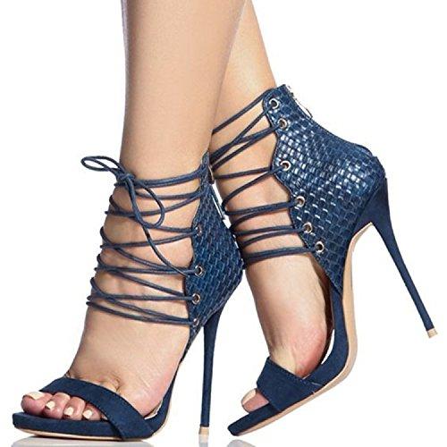 Cinturini incrociati Sandali con tacco Scarpe sandali tacco Blue
