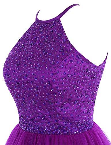 Dresstells Robe de soirée de cocktail Robe de bal en tulle emperlée longueur genou Lavande