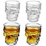 Set de 4 vasos de chupito Easytar transparentes con forma de calavera de 45 ml