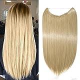 Haarteil Extensions 1 Tresse Haarverlängerung Synthetische Haare Haarverdichtung Glatt 50cm #24/613 Mittelblond/Hell-Lichtblond