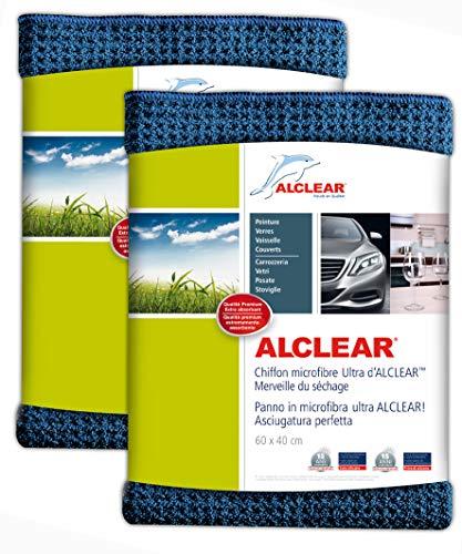 Alclear panno in micro fibra super asciutto per un'auto perfetta, vernice, moto, cucina e casa – panno per stoviglie in microfibra - panno morbido per asciugare - 60x40 cm, set di due, azzurro