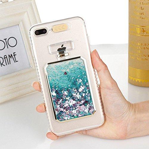 UMCCC Mobile Shell Mode Luxus Bling Star Dynamischer Flüssiger Schleifpapier-Telefon-Kasten iPhone X LED-Blitz-Mädchen-Telefon-Kasten,Green (Telefon-kasten Iphone 6 Nike)