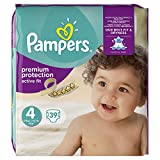 Pampers - Active Fit - Couches Taille 4 (8-16 kg) - Pack Géant (x39 couches)