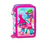 Trolls 43 x TEILE 3-FÄCHER FEDERTASCHE FEDERMAPPE Federmäppchen Mäppchen Poppy mit Sticker von kids4shop