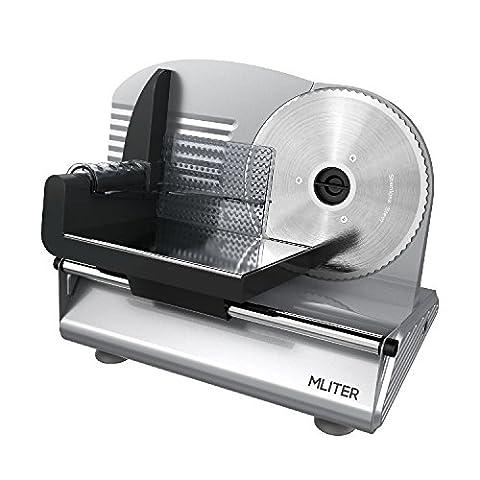 MLITERElectricFoodSlicerPrecision19cmStainlessSteelBlade 150W Meat Slicer Bread Slicer Food Cutter for Kitchen Use - Silver