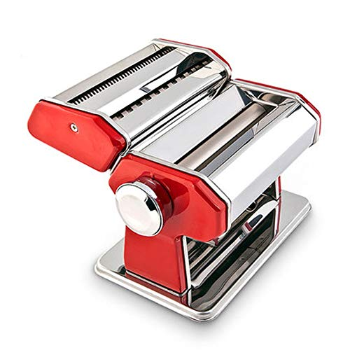 CRJT Shop Stainless Steel Manual Pasta Machine, Easy to Use Adjustable Small Household Noodle Cutter for Homemade Fresh Tagliatelle Fettuccine Spaghetti Lasagna (Color : Red)