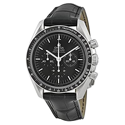 Omega Speedmaster Chronograph Black Dial Black Leather Mens Watch 31133423001001