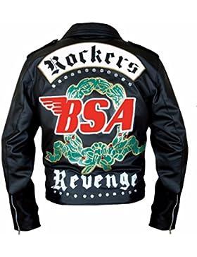 Leatherly Chaqueta de hombre BSA George Michael Faith Rockers Revenge Motociclista Estilo moto Genuine chaqueta...