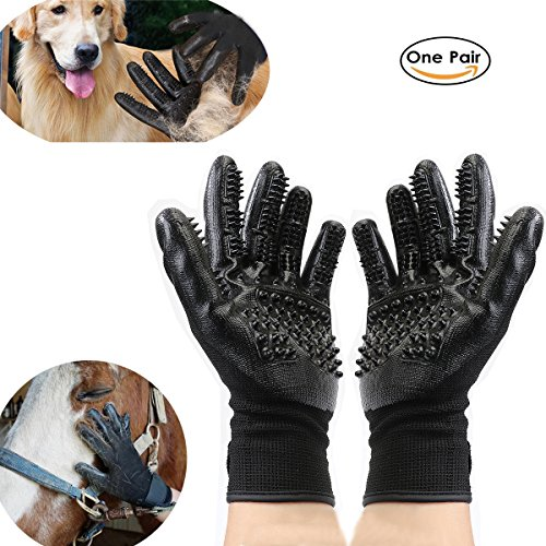 RCRuning-EU Pet Dog Cat Cepillo Perros Guante Grooming Glove Hair Removal Products Brush Glove for Pet Grooming Clean Massage Glove Bathing,Breathable Five-Finger 1 Pair (Left and Right Hand)