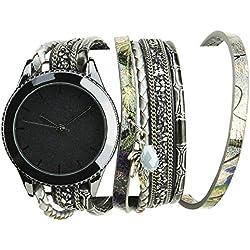 Bellos Damen-Armbanduhr Schwarz Quarz Gehäuse Stahl Analog Armband Kunstleder Doppel Tour grau