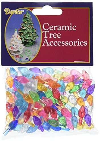 Darice Gabarit d'embossage en Plastique de Noël Arbre de Noël en céramique Ampoules .5-inch 100/Pkg-Small Flame-Multicolor