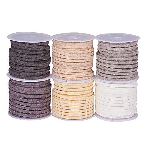 PandaHall Elite 6 Rolls 3mm Lace Faux Leder Wildleder Perlen Schnüre Samt String 5,5 Yard Pro Pack 6 Mischfarben 4 -