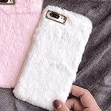 LAPOPNUT Coque iPhone 7 Plus iPhone 8 Plus Mignon Faux Lapin Fourrure Housse Super...