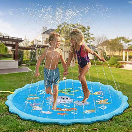 QPAU Sprinkle and Splash Play Mat, Extra Large 172CM Water Play Mat, Outdoor GardenToys Summer Spray Game for Kids Toddlers Age 3-5