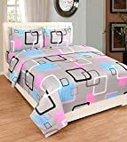 #9: Sidhi 100% Cotton 3D 5D Printed Double Bedsheet With Two Pillow Cover (90X100)Inches,multicolour Digital print