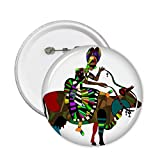 DIYthinker Vache tour Chine Minority Totem Sketch Vinaigrette sur mesure Illustration rond Motif Pin Badge Bouton 5Pcs XL...