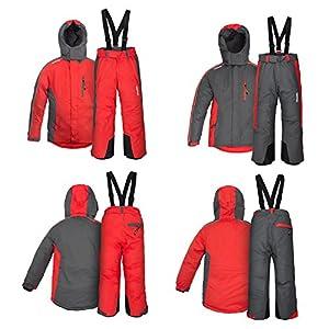 anndora Kinder Skianzug Grau Rot Farbwahl wasserabweisend atmungsaktiv Winddicht