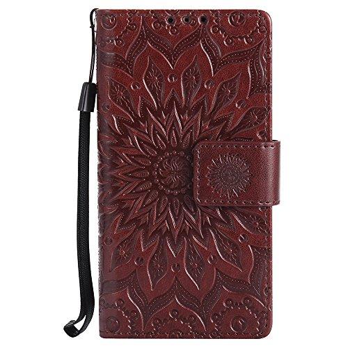 Für LG C40 Fall, Prägen Sonnenblume Magnetische Muster Premium Soft PU Leder Brieftasche Stand Case Cover mit Lanyard & Halter & Card Slots ( Color : Blue ) Brown