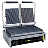 Buffalo Bistro Contact Grill Double Ribbed 210X540X390mm Barbecue Griddle