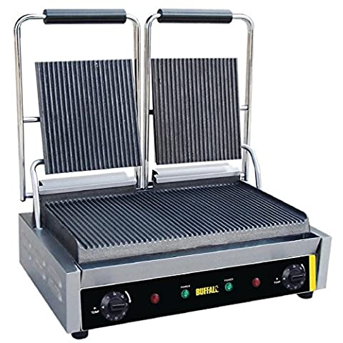 Buffalo Bistro Contact Grill Double Ribbed 210X540X390mm Barbecue