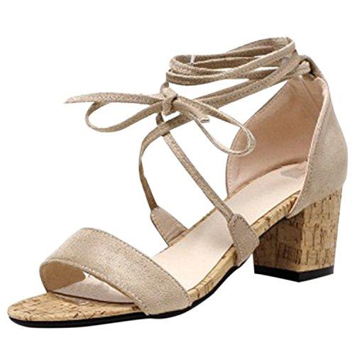 Oasap Women's Open Toe Cross Laceup Chunky Heels Sandals Beige