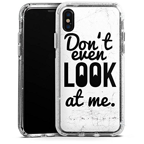 Apple iPhone 7 Bumper Hülle Bumper Case Glitzer Hülle Sayings Phrases Sprüche Bumper Case Glitzer silber