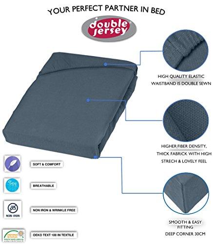Double Jersey - Spannbettlaken 100% Baumwolle Jersey-Stretch bettlaken, Ultra Weich und Bügelfrei mit bis zu 30cm Stehghöhe, 160x200x30 Anthrazit - 3