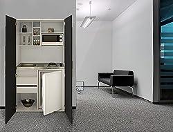 Single Office respekta SKW Kitchenette Kitchen Kitchenette Pantry Ceramic Black White