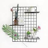 Design-Wandgitter zum Aufhängen Satz von 2 | Moodboard | Gitterwand | Dekogitter | Draht | Netz | Rack | Mesh | Memo Board | Wandhalterung | Wand-Organizer | Fotowand | 65 x 45 cm (Schwarz)