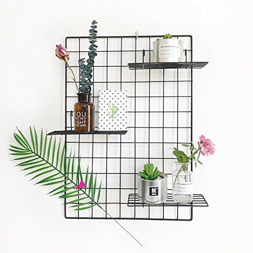 Design-Wandgitter zum Aufhängen   Moodboard   Gitterwand   Dekogitter   Draht   Netz   Rack   Mesh   Memo Board   Wandhalterung   Wand-Organizer   Fotowand   65 x 45 cm (Schwarz)