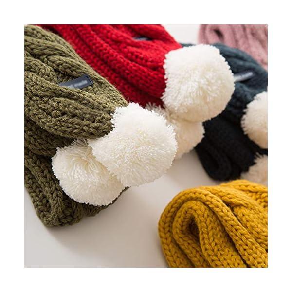Xuxuou 1 Pieza de Invierno De Bufandas con Bola Caliente de Bufanda para Bebé Bufanda de Lana Tejida a Mano size 68cm*8… 2