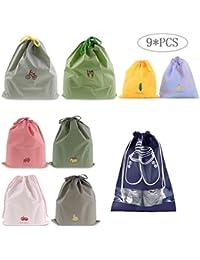 9 Piezas Chicas Organizador para maletas Bolsos de Lazo Del Almacenaje para viajar, Zapatos de Dibujos Animados Maleta de Cosméticos Bolsa de Lavandería de Tocador (Estilo: Dibujar cadena)