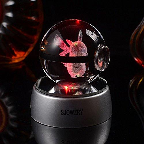 3D Crystal Ball LED-Nachtlicht, Boden ?nderungen Farbe Spielzeug Nachtlicht Lampe-20?Zoll New Geschenke - Pikaqiu - Led Crystal Ball