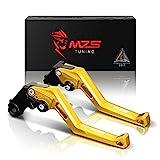 MZS CNC Brake Clutch Levers for Yamaha MT-07/FZ-07 14-17,FZ1 Fazer 06-13,FZ6 Fazer 04-10,FZ6R 09-15,FZ8 11-15,FZ-09/MT-09/SR 14-17,XJ6 Diversion 09-15,XSR700 ABS/XSR900 ABS/XV950 Racer 16-17 Gold