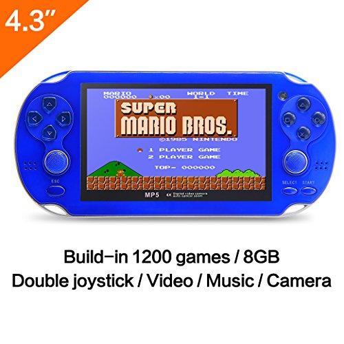 CZT 10,9 cm 8 GB Spielkonsole bauen in 1200 No-Repeat Spiele Video Game Konsole Unterstützung FC/NES, SFC/SNES/GB/GBC/GBA/SMC/SMD/Sega Spiele MP3 MP5 Player unterstützt Kamera Aufnahme Retro Spie (Spiel Konsole Mp3-player)