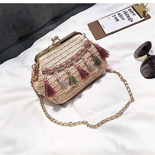 KOIDFJHA Bohemian Beach Straw Shell Bag Frauen Handtasche Kleine Messenger Bags Quaste Damen Umhängetasche Clutch Geldbörse Style 1