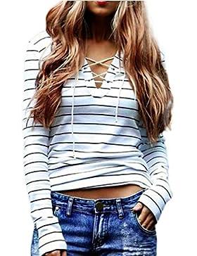 Amlaiworld Casual rayas de manga larga camiseta de las tapas de la blusa