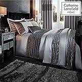 Catherine Lansfield Filaire en Velours Groupe Housse de Couette, Polyester, Polyester, Gris, Parure de lit Super King Size