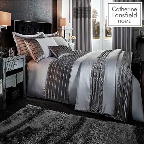 Catherine Lansfield Bettbezug-Set für King-Size-Betten mit gerippten Samtbändern, aus Polyester, Polyester, grau, King Size