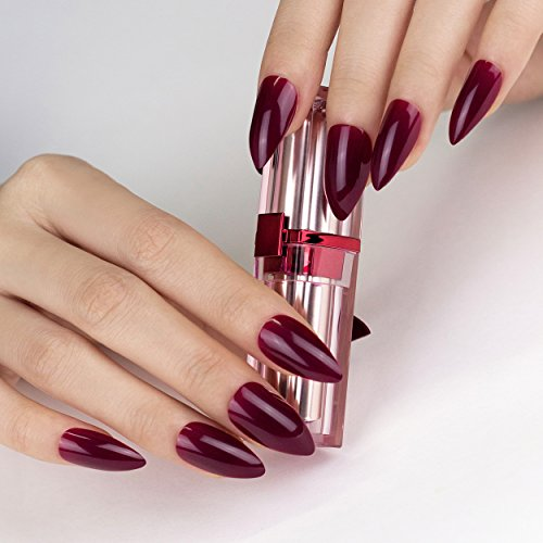 ArtPlus Plum Gel Fake Nails Kit Stiletto Full Cover with Glue 24pcs False Nails