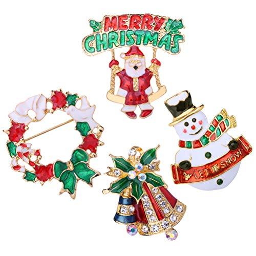 Healifty 4pcs /Set Christmas Brooks Jingle Bell Rhinstone Snowman Santa Claus Breastpins Weihnachten Geschenkparty Schmuck - Machen Bell Boy Kostüm