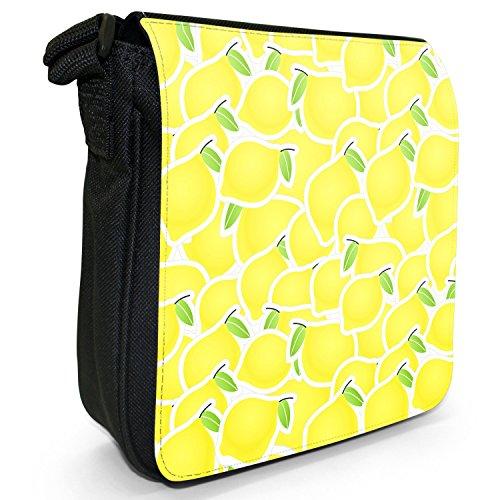 Graphical frutta-Borsa a tracolla in tela, piccola, colore: nero, taglia: S Nero (Lemon Fruit)