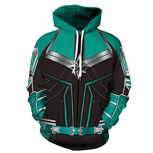 Männer mit Kapuze Langarm 3D Digitaldruck Captain Marvel Design Paar Pullover Hoodies(XXL,Green) - Captain Green T-shirt