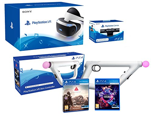 PlayStation VR + Farpoint + Aim-Controller PS4 + VR Worlds + PS4 Camera V2 - VR Pack