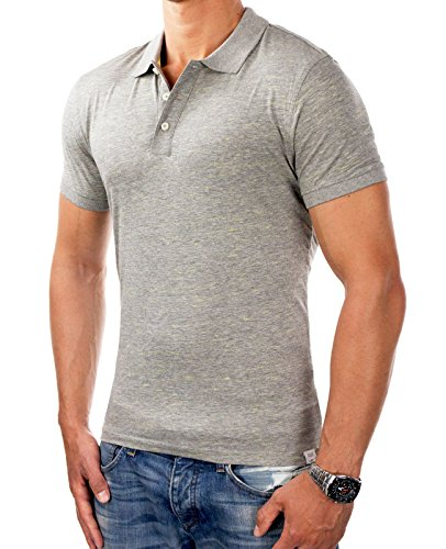 JACK & JONES Herren Poloshirt jcoBLAST Shirt Polohemd meliert Slim Fit 2360 Hellgrau
